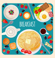 breakfast food and drink top view isolated vector image vector image
