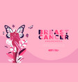 breast cancer month pink butterfly web template vector image