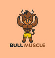 brown bull muscle good for gym or fitness logo vector image