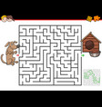 cartoon maze game with dog and doghouse vector image vector image