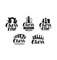 chess club logo or label game tournament icon vector image