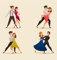 dance pairs retro cartoon set vector image