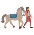 equine sports hobwoman with horse vector image