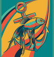 fish anchor line art quality vector image vector image