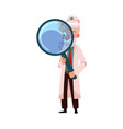 flat grey-haired doctor holding magnifier vector image vector image