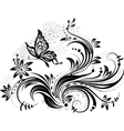floral design element and butterfly vector image vector image