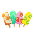 fresh fruit popsicles mint banana strawberry vector image vector image