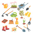 gardeners equipment set of objects needed for vector image