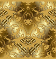 gold 3d baroque seamless pattern vector image