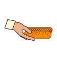 hand holding hot dog fast food vector image