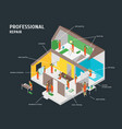 home repair infographic concept 3d isometric view vector image