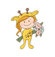 lovely girl in a giraffe costume with a bouquet of vector image
