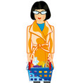 making look younger girl with pushcart pervaded vector image vector image