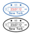 new york usa oval passport stamps with date vector image vector image