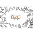 poster template with hand drawn fruits vector image vector image
