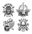 rock and roll emblems vector image vector image