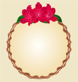 Round frame with red rhododendron greeting card vector image vector image