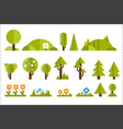 set of elements for forest landscape green trees vector image vector image