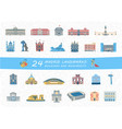set of madrid city buildings and monuments vector image vector image