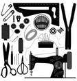 sewing tailor retro black a set sewing vector image