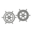 ship wheel in vintage engraving style rudder vector image