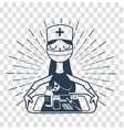silhouette linear style nurse vector image