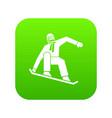 snowboarder icon digital green vector image vector image