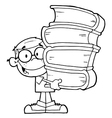 Student with books cartoon vector image vector image