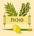 sukkot judaic holiday traditional symbols vector image