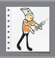 syringe doctor makes the medicine vector image vector image