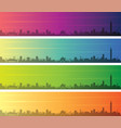 taipei multiple color gradient skyline banner vector image