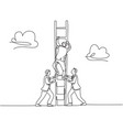 trendy business teamwork concept one continuous vector image