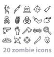 twenty zombie icons collection vector image vector image