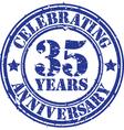 ValuablCelebrating 35 years anniversary grunge rub vector image vector image