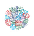 visa rubber stamps round composition vector image