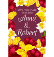 wedding invitation and save the date floral card vector image vector image