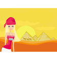 Women on background the pyramids in Giza built for vector image vector image