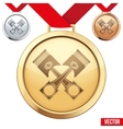 Gold Medal with the symbol of pistons inside vector image