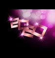 2020 happy new year luxury pink gold numbers vector image