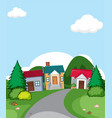 a rural house village scene vector image vector image