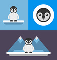 A set of three in blue colors of cute pinguin bird vector image vector image