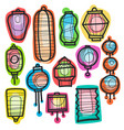 asian holiday hand drawn doodle paper lanterns vector image vector image