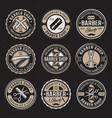 Barber shop colored badges on dark