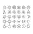 black line sun icon set vector image vector image