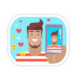 blogger with phone speaking online sticker vector image vector image