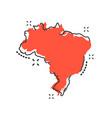 cartoon brazil map icon in comic style brazil vector image vector image