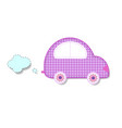 cut out fabric or paper chequered pink retro car vector image