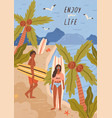 cute happy young man and woman with surfboards vector image
