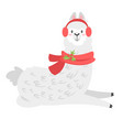 cute lama alpaca animal vector image vector image