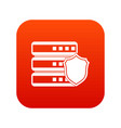 database with gray shield icon digital red vector image vector image